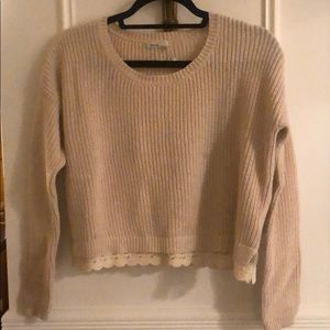 KiMCHI BLUE LACE TRIM Ivory CROPPED SWEATER size S